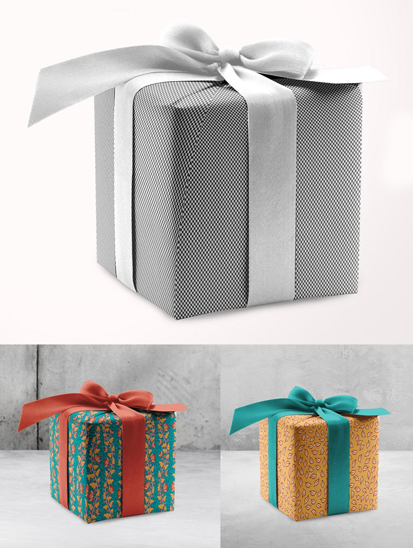 Wrapping Paper Mockup With Box