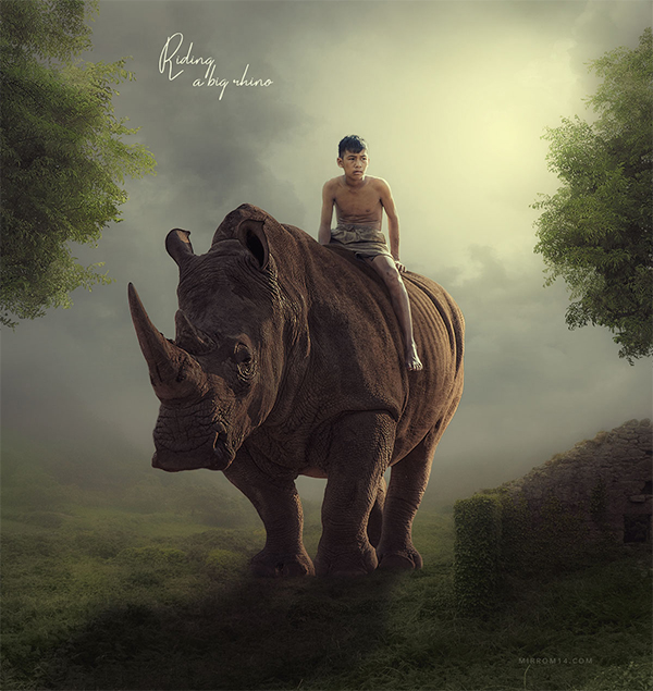 How to Create a Fun Photo Manipulation of a kid Riding a Big Rhino