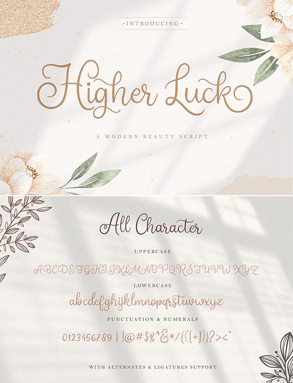 Higher Luck - Modern Script Font