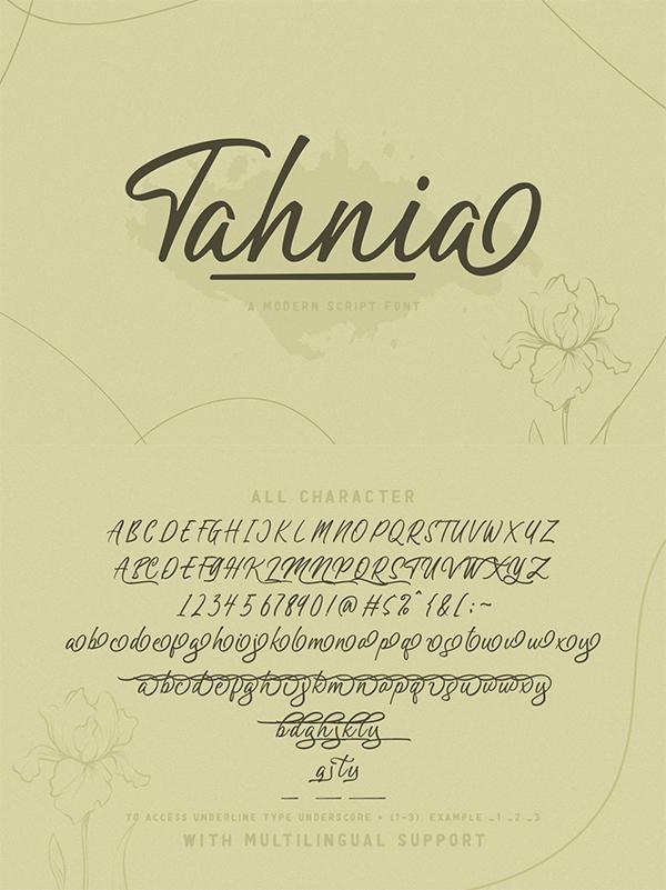Tahnia - Modern Script Font