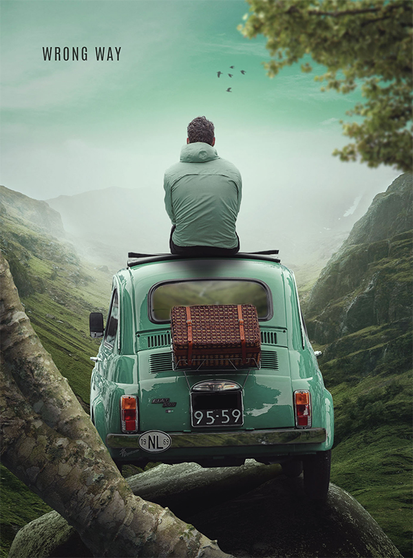 How to Create a Photo Manipulation of the Wrong Way Scene
