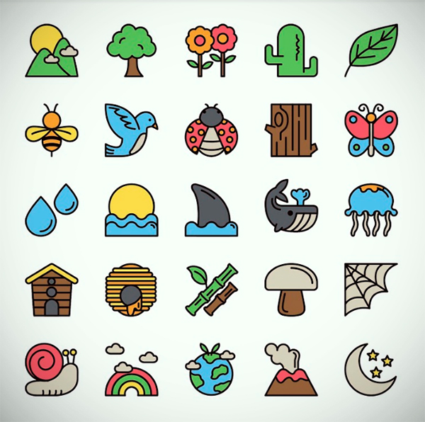 25 Nature Icons Set