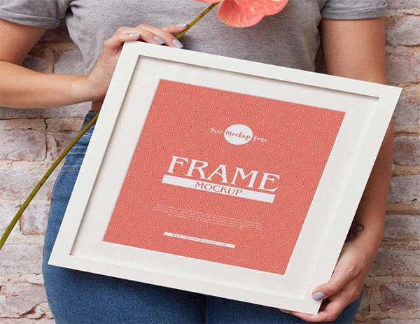 Girl Showing Frame Mockup