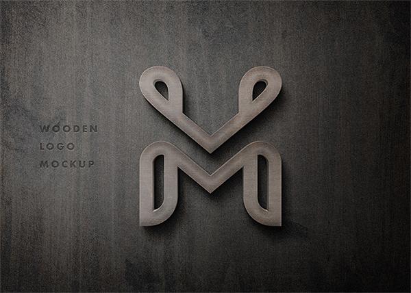 Free High Quality 3D Wooden Logo PSD Mockup
