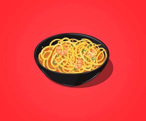 Illustrator vector tutorial Noodles bowl