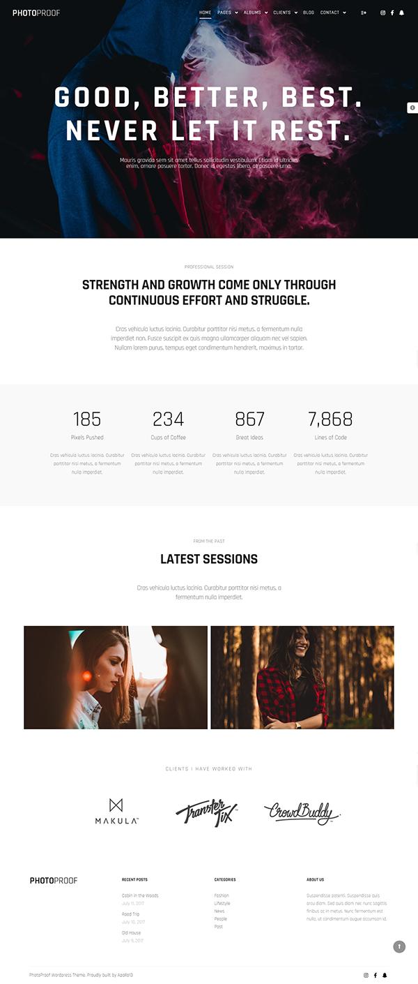 PhotoProof | Photography Responsive WordPress Theme