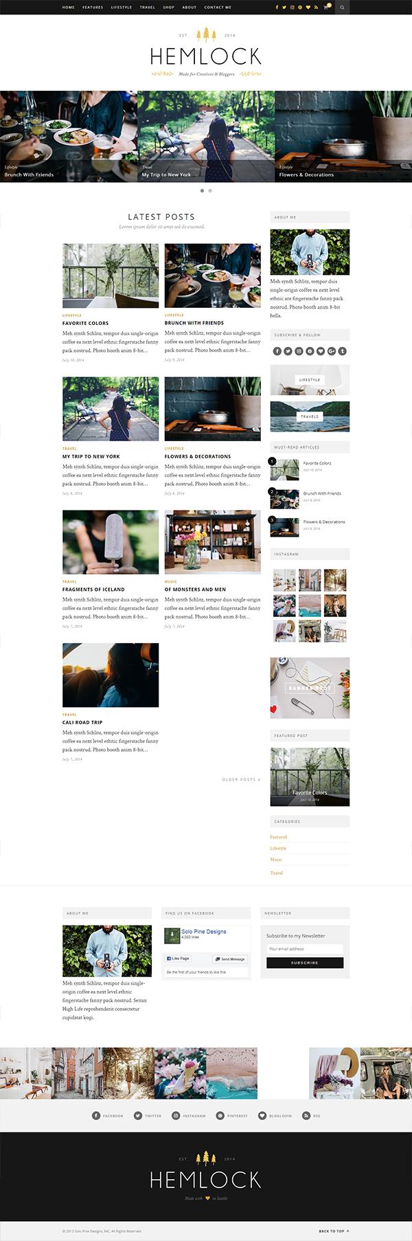 Hemlock - A Responsive WordPress Blog Theme