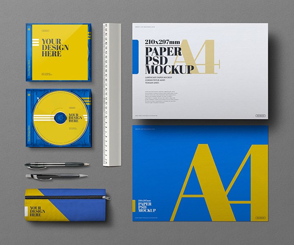 Stationery A4 Cd Case Mockup