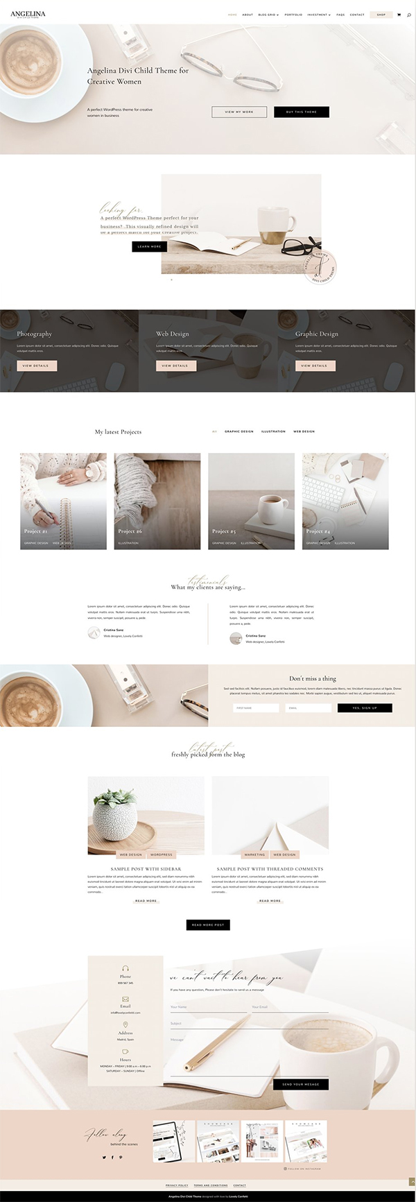 Angelina Business Divi Child Theme