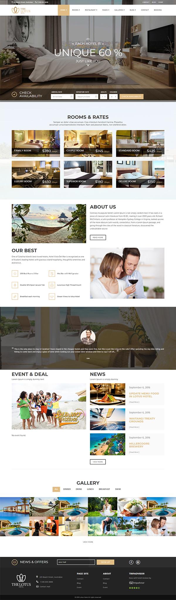 Lotus - Hotel Booking WordPress Theme