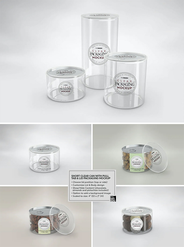 Clear Cans with Pull tabs and Clear Lids Mockup