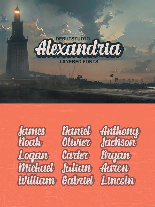 Alexandria Script // Layered Fonts