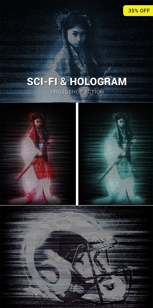 Sci-Fi And Hologram Photoshop Action