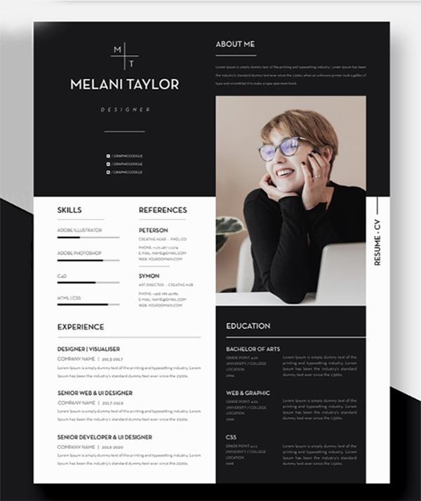 Free Attractive Minimal Resume / CV Template