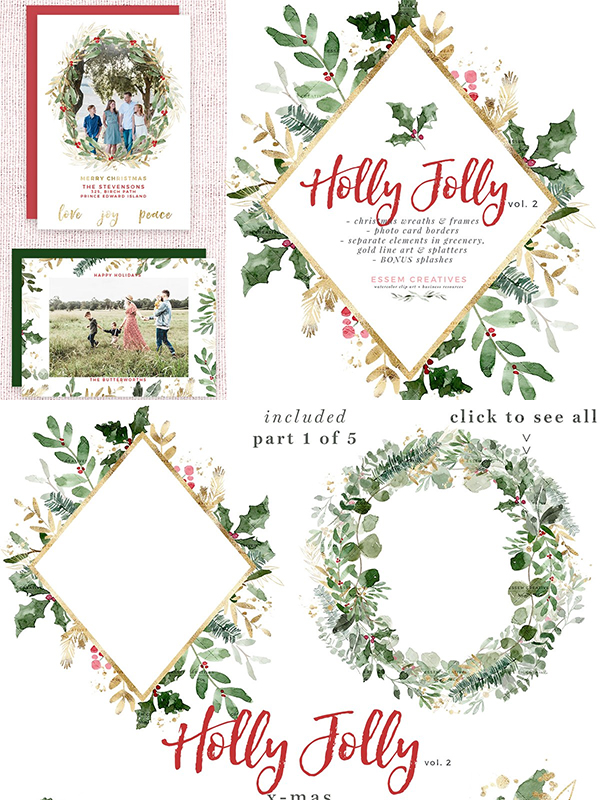 Watercolor Christmas Clipart Holly
