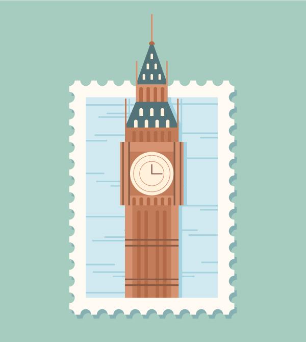 Design a Big Ben Postage Stamp in Adobe Illustrator