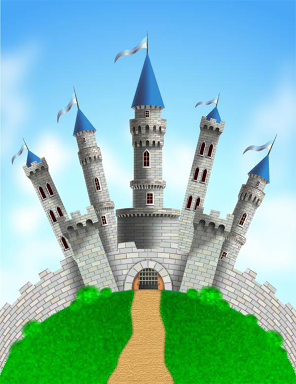 Create A Castle on a Green Grass Mountain