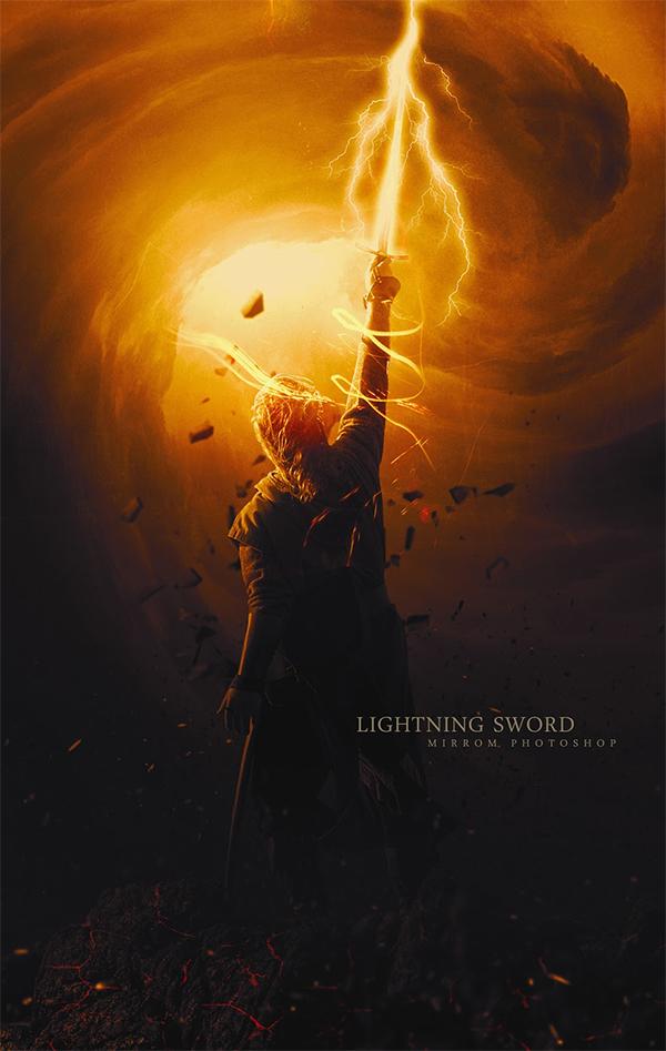 How to Create Digital Art Lightning Sword Using Adobe Photoshop