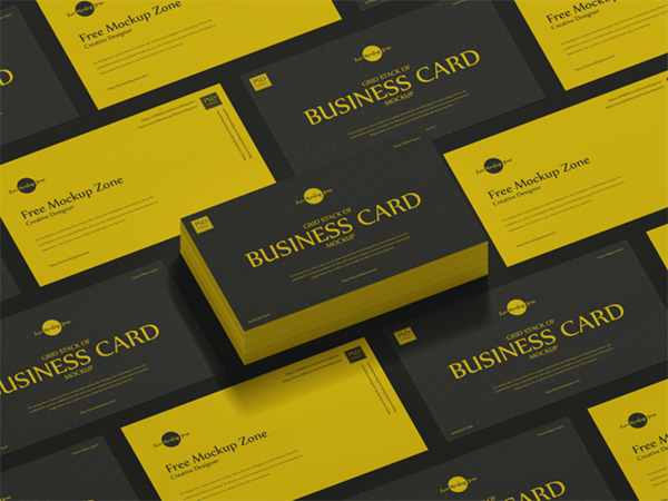 Free Grid Stack of Business Card Mockup
