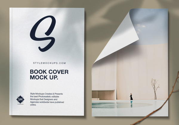 Free Book with Paper Mockup PSD