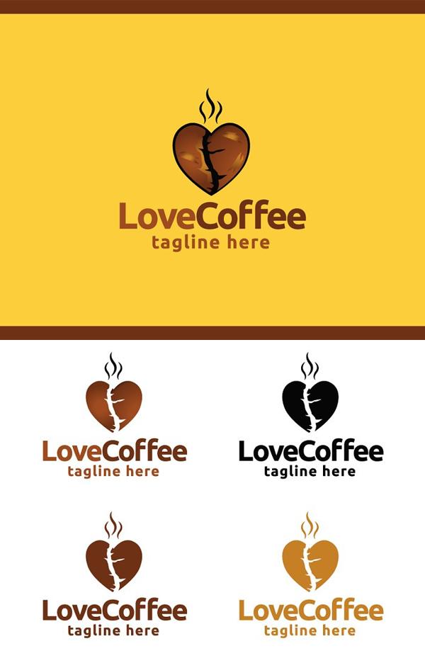 Love Coffee Logo Template