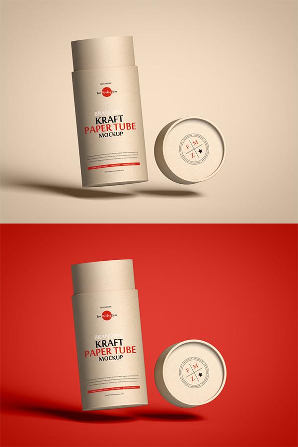 Free Kraft Paper Tube Mockup