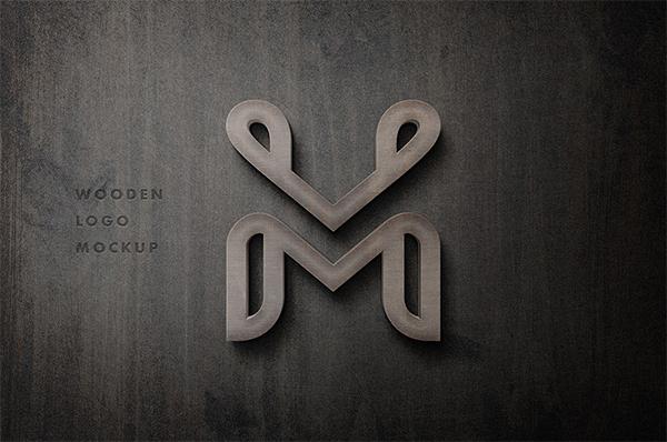 3D Wooden Sign Logo Mockup