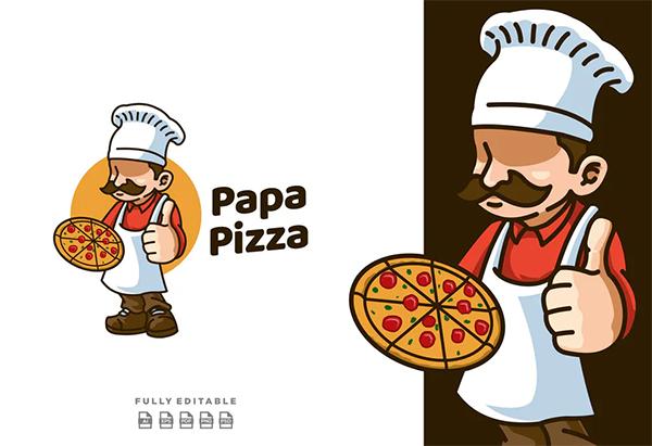 Papa Pizza Retro Mascot Logo