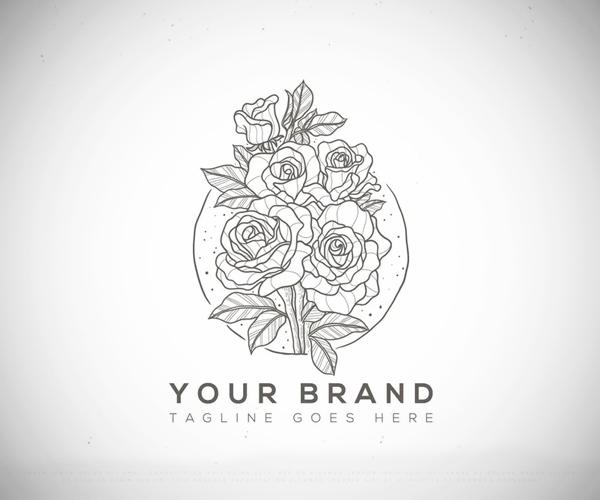 Floral Line Art Logo Design