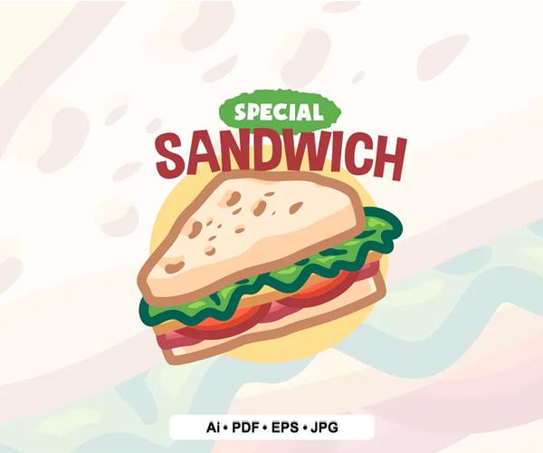 Sandwich Cartoon Logo Template