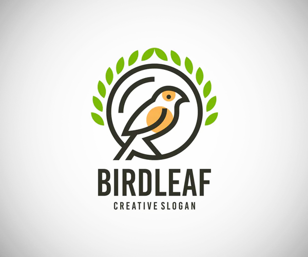 Bird Leaf Elegant Logo Template