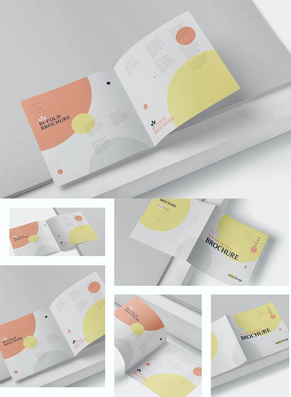 Square Bi-Fold Brochure Mock-Up Set