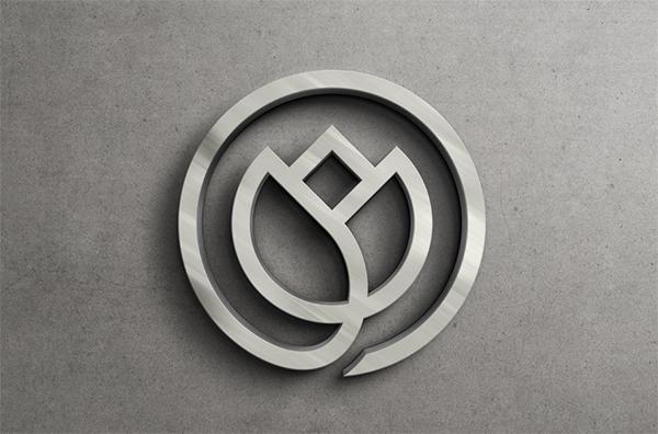 Silver 3D Logo Mockup