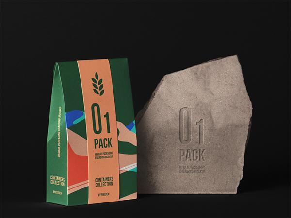 Free Herbal Psd Bag Packaging Mockup