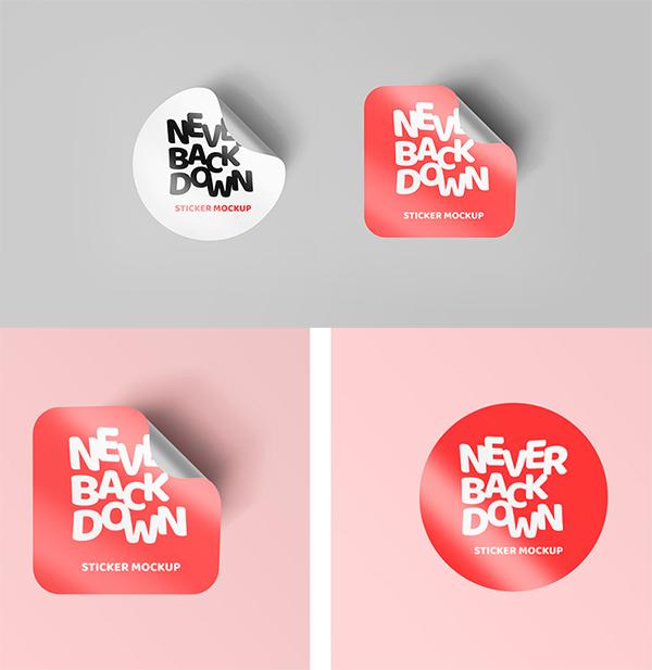 Curled Sticker Mockups