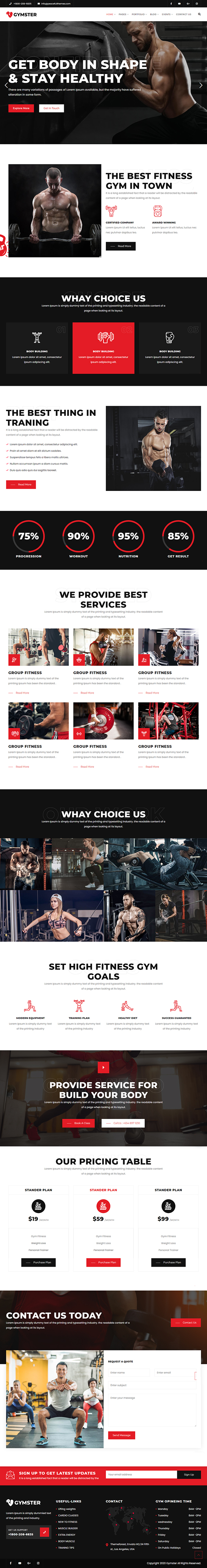 Gymster - Fitness and Gym WordPress Theme