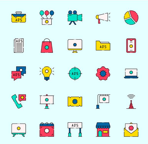 Free Stylish Advertising Vector Icons (2020)