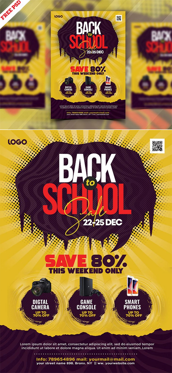Free Download Elegant Back to School PSD Flyer Template (2021)