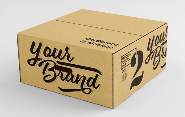 Closed Cardboard Box 3D Mockup