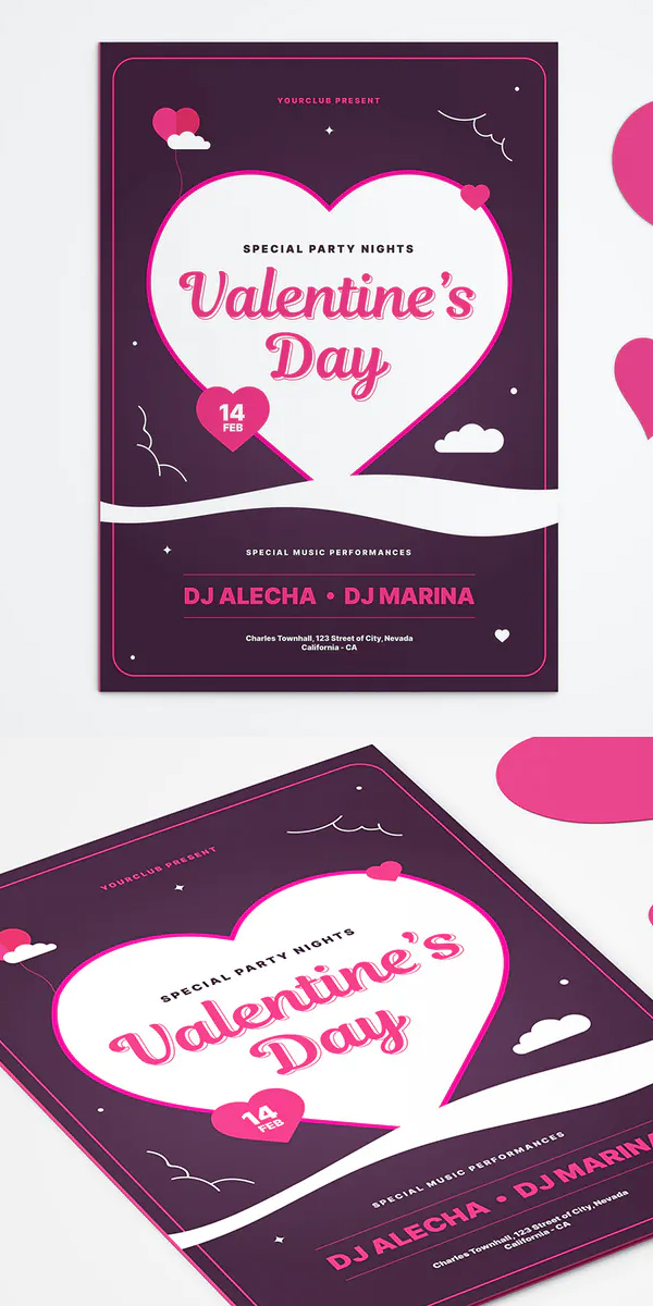 Valentines Day Greeting Card Mockup