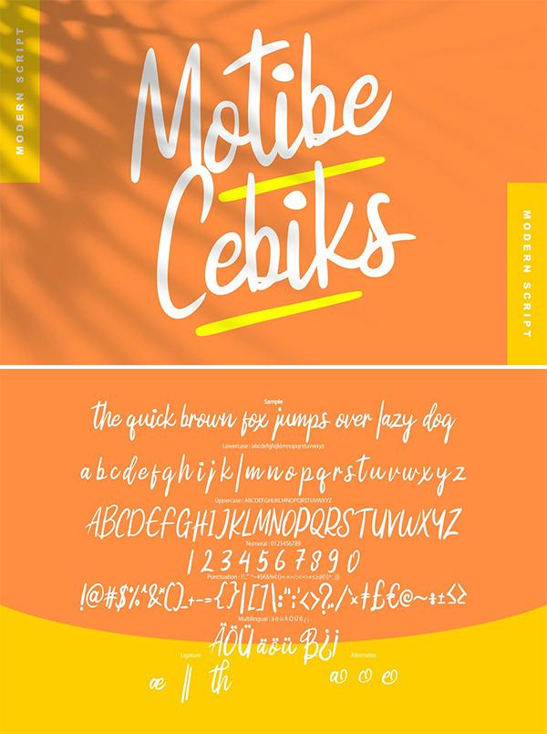 Motibe cebiks | Modern Script Font