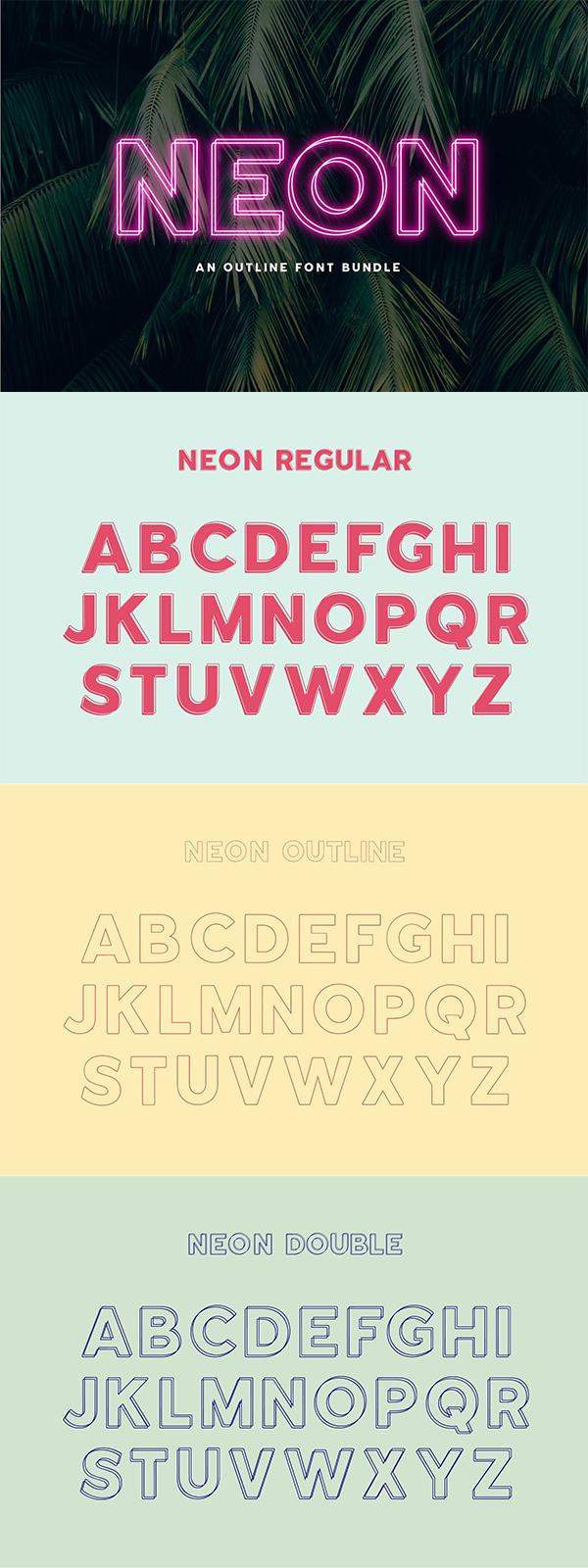 Neon - An Outline Font Bundle