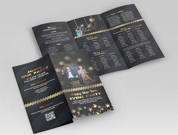 Free New Year Tri-Fold Brochure Mockup