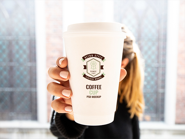 Woman Holding Cup Mockup
