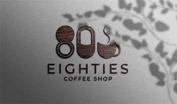 Free Awesome Wood Texture Coffee Shop logo mockup (PSD)