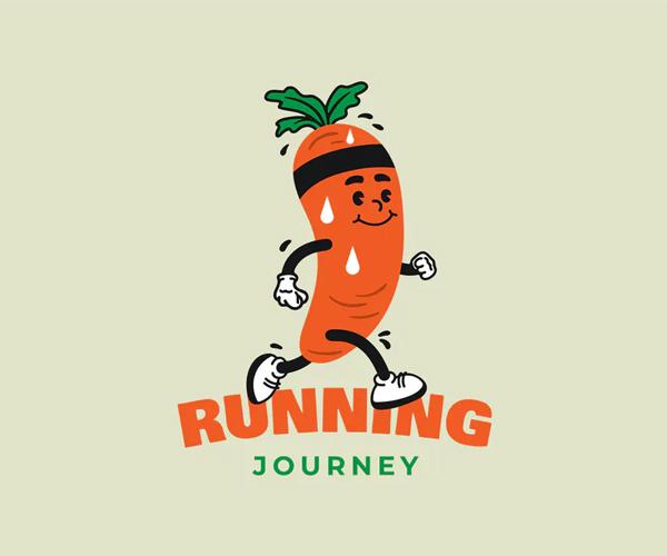 Carrot Running Sport Retro Logo