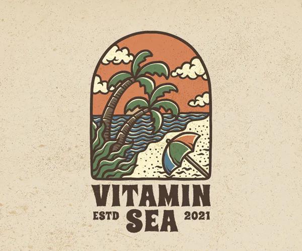 Vitamin Sea Hand Drawn Logo