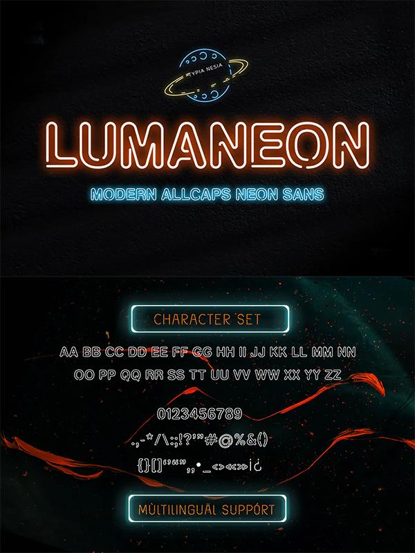 Lumaneon - Retro Neon Sign Sans Serif Font