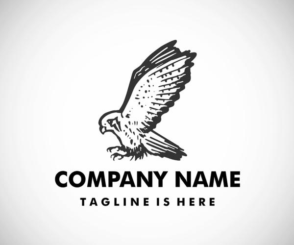 Flying Kestrel Bird Logo