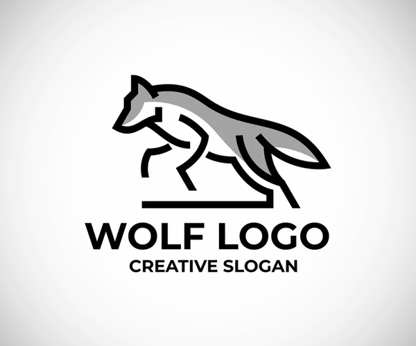 Wolf Simple Line Logo